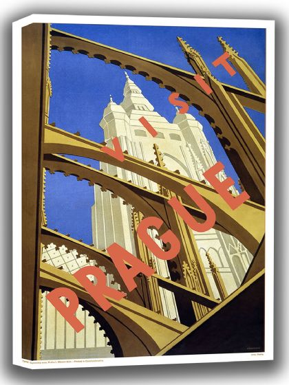 Prague, Czechoslovakia. Vintage Travel Canvas. Sizes: A4/A3/A2/A1 (002715)